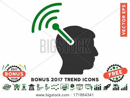 Green And Gray Radio Neural Interface pictograph with bonus 2017 trend pictograms. Vector illustration style is flat iconic bicolor symbols white background.