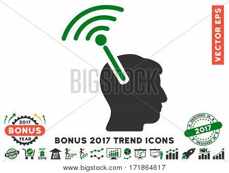 Green And Gray Radio Neural Interface icon with bonus 2017 year trend pictograph collection. Vector illustration style is flat iconic bicolor symbols white background.