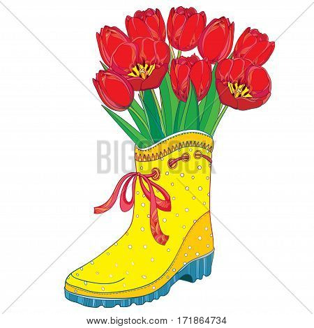 Vector bouquet with red tulips flower and green leaves in yellow rubber boot with bow isolated on white background. Ornate floral elements in contour style with tulip and gumboot for spring design.