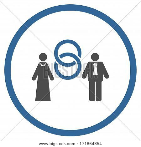 Marriage Persons rounded icon. Vector illustration style is flat iconic bicolor symbol inside circle cobalt and gray colors white background.