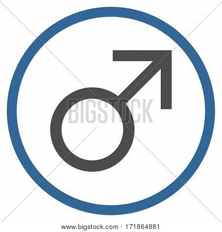 Mars Male Symbol rounded icon. Vector illustration style is flat iconic bicolor symbol inside circle cobalt and gray colors white background.