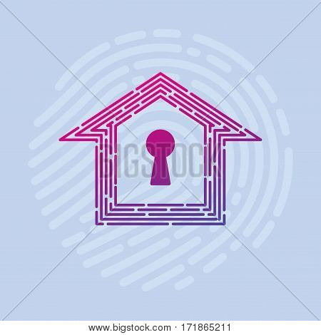 Logo vector security Smart home thumbprint keyhole
