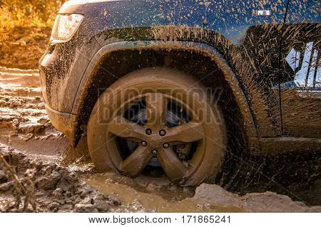 Of wheels in the mud. Off-road competition
