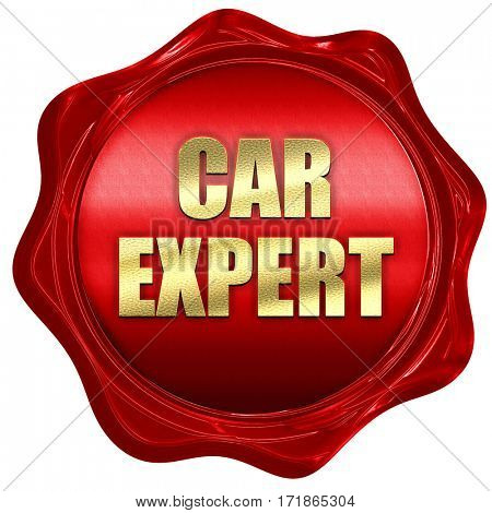 car expert, 3D rendering, red wax stamp with text