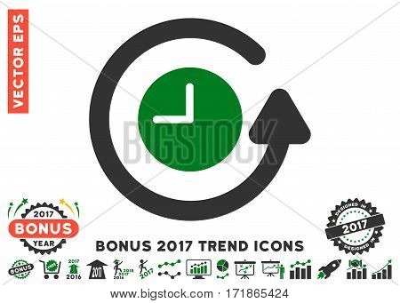 Green And Gray Restore Clock pictogram with bonus 2017 year trend pictograph collection. Vector illustration style is flat iconic bicolor symbols white background.