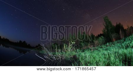 starry night the stars over the lake green grass trees illuminated by a flashlight the Milky Way fisheye photo