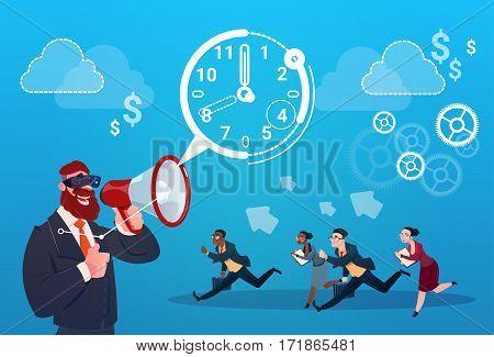 Businessman Hold Megaphone Business People Group Run Clock Businesspeople Time Deadline Concept Flat Vector Illustration