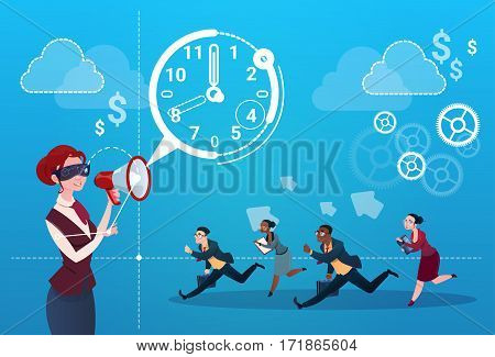 Businesswoman Hold Megaphone Business People Group Run Clock Businesspeople Time Deadline Concept Flat Vector Illustration