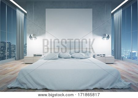 Front view of modern bedroom interior with furniture blank whiteboard and night city view. Mock up 3D Rendering