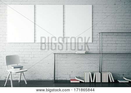White brick interior with modern bookshelf chair and three blank banners. Mock up 3D Rendering