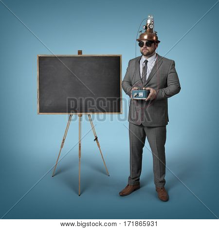 Science businessman with empty blackboard - studio shot