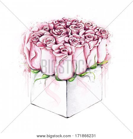 Watercolor illustration of roses gift box