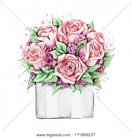 Watercolor illustration of hand painted roses in package