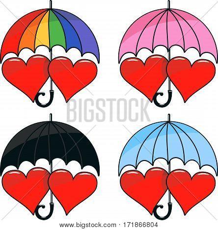 vector set of two hearts under varicoloured umbrella