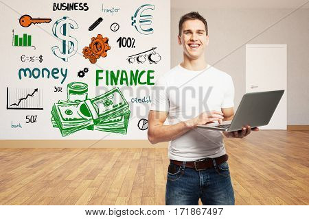 Smiling caucasian businessman using laptop in clean interior with colorful business sketch. Finance concept. 3D Rendering