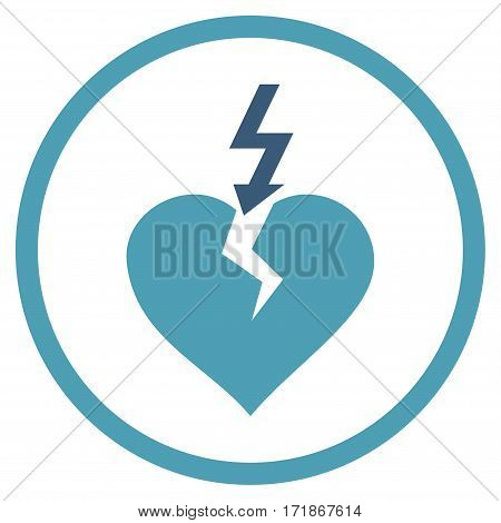 Break Heart rounded icon. Vector illustration style is flat iconic bicolor symbol inside circle cyan and blue colors white background.