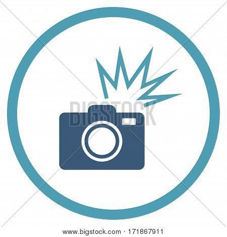 Camera Flash rounded icon. Vector illustration style is flat iconic bicolor symbol inside circle cyan and blue colors white background.