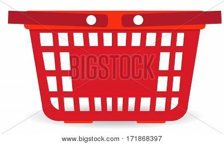 Supermarket basket. Food shopping basket. Grocery delivery concept. Empty shopping bag