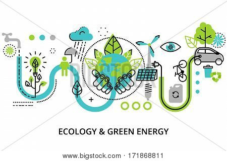 Modern flat thin line design vector illustration infographic concept of ecology problem green energy and alternative fuel for graphic and web design