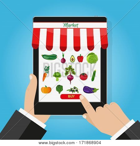 Online food shopping, smartphone. Healthy vegetables and vegetarian food banners. Food order. Buy now, food order button. E-commerce concept.