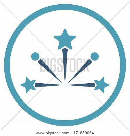 Fireworks Bang rounded icon. Vector illustration style is flat iconic bicolor symbol inside circle cyan and blue colors white background.
