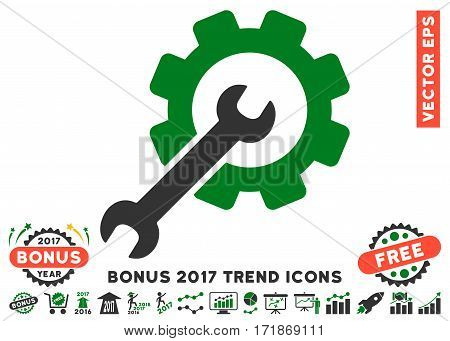 Green And Gray Setup Tools pictograph with bonus 2017 trend images. Vector illustration style is flat iconic bicolor symbols white background.