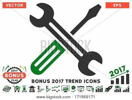 Green And Gray Spanner And Screwdriver pictogram with bonus 2017 year trend design elements. Vector illustration style is flat iconic bicolor symbols white background.
