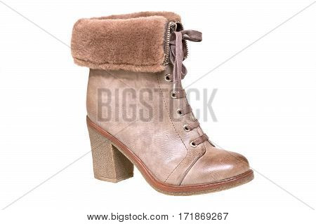 Women's shoes. One brown winter boot on white background