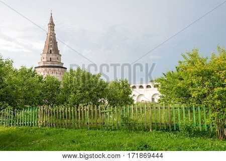 Ancient tower of the Joseph-Volokolamsk Monastery Moscow region Russia.