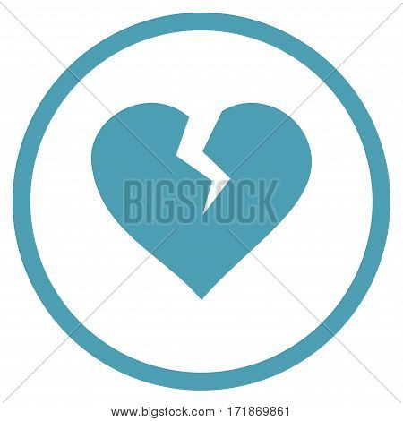Heart Break rounded icon. Vector illustration style is flat iconic bicolor symbol inside circle cyan and blue colors white background.