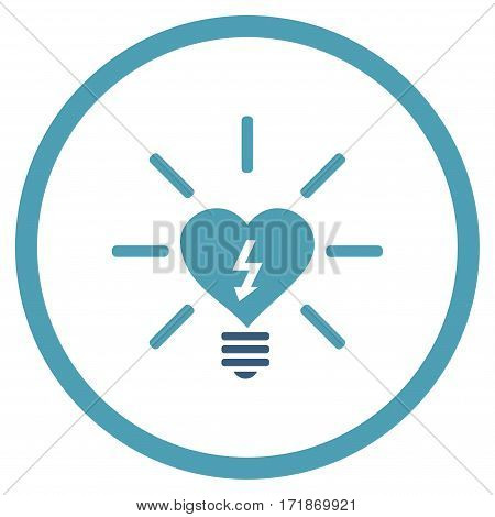 Heart Electric Bulb rounded icon. Vector illustration style is flat iconic bicolor symbol inside circle cyan and blue colors white background.