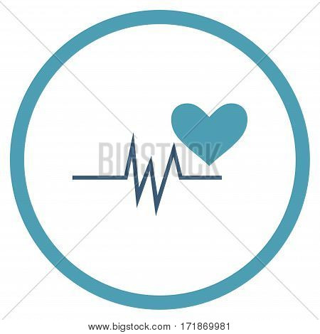 Heart Pulse Signal rounded icon. Vector illustration style is flat iconic bicolor symbol inside circle cyan and blue colors white background.