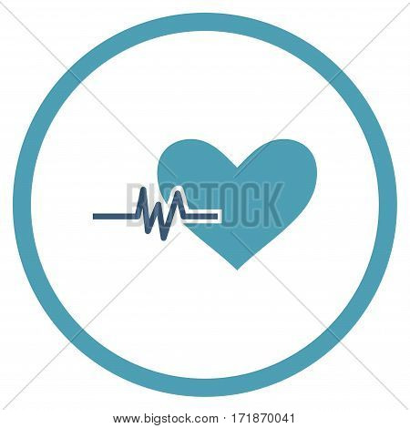 Heart Pulse rounded icon. Vector illustration style is flat iconic bicolor symbol inside circle cyan and blue colors white background.