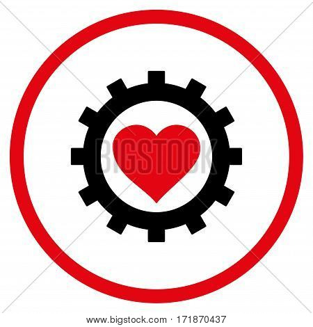 Love Heart Options Gear rounded icon. Vector illustration style is flat iconic bicolor symbol inside circle intensive red and black colors white background.