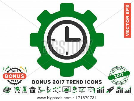 Green And Gray Time Setup Gear pictograph with bonus 2017 year trend clip art. Vector illustration style is flat iconic bicolor symbols white background.