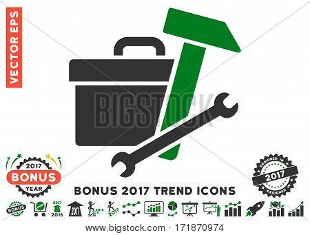 Green And Gray Toolbox icon with bonus 2017 year trend images. Vector illustration style is flat iconic bicolor symbols white background.