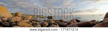 Ice Age Stones on the seashore. Panorama.