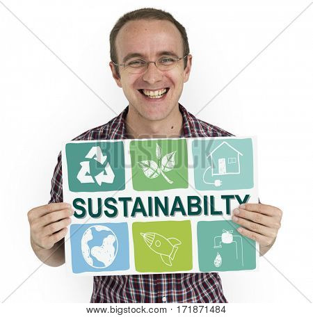 Caucasian man holding sustainability icon banner