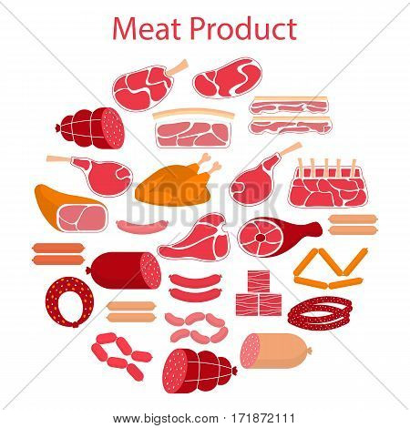 Vector flat illustration with different kinds of meat beef steak, lamb chop, pork, chicken and sausages, isolated on white background.