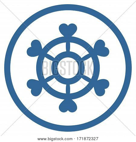 Lovely Boat Steering Wheel rounded icon. Vector illustration style is flat iconic bicolor symbol inside circle cobalt and gray colors white background.