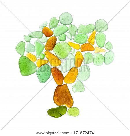 sea glass pieces isolatedon white tree mosaic
