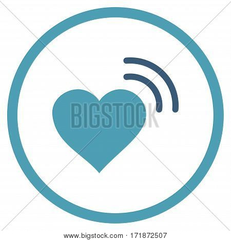 Heart Radio Signal rounded icon. Vector illustration style is flat iconic bicolor symbol inside circle cyan and blue colors white background.