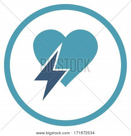 Heart Shock rounded icon. Vector illustration style is flat iconic bicolor symbol inside circle cyan and blue colors white background.