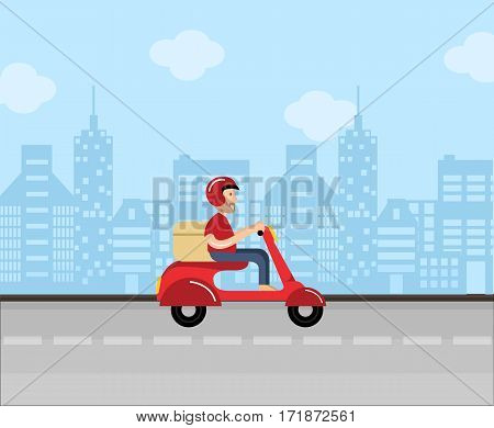 Delivery man driver scooter motorcycle flat city urban service fast illustration vector stock