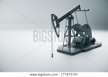 Side view of dark oil pump on light background. Industry concept. 3D Rendering