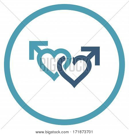 Linked Gay Hearts rounded icon. Vector illustration style is flat iconic bicolor symbol inside circle cyan and blue colors white background.