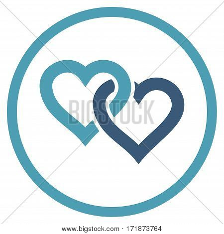 Linked Hearts rounded icon. Vector illustration style is flat iconic bicolor symbol inside circle cyan and blue colors white background.