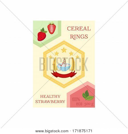 Cereal rings with strawberry in box. Oatmeal breakfast with milk, organic muesli. Flat vector style.