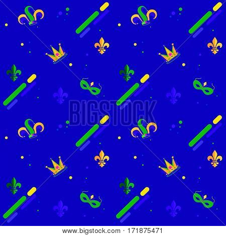Carnival, Festival, Masquerade poster, invitation checkered geometric pattern design. Mardi Gras Carnival pattern with fleur-de-lis. Mardi Gras endless background, texture, wrapper illustration ornament