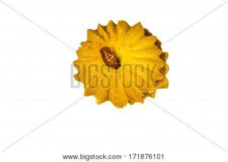 Cookie with condensed milk on the white background